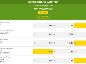 BETIKA GRAND JACKPOT PREDICTION THIS WEEKEND 02 MAY 2021
