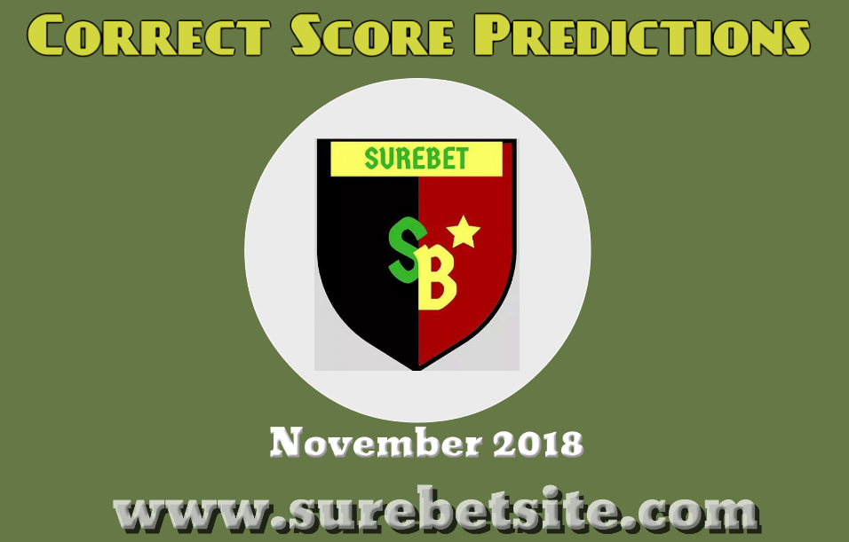 Correct Score Predictions November 2018