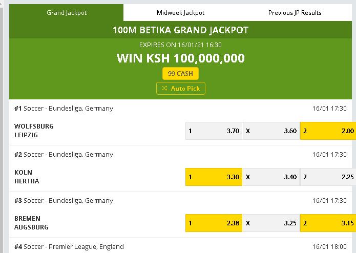Betika grand jackpot prediction this week - screenshot for 16th Jan 2021