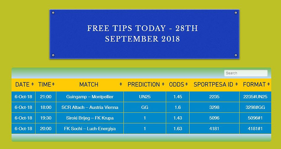 screenshot of free sure bet tips on surebet