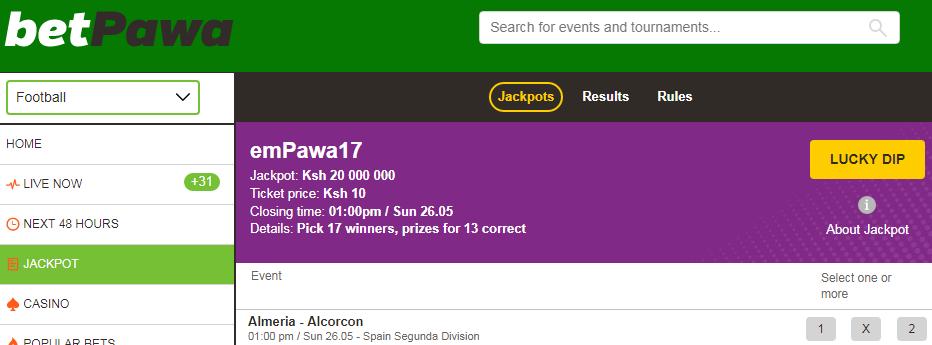 Betpawa jackpot results