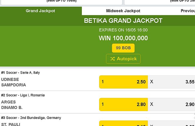 Betika Grand jackpot prediction screensh