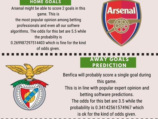 1X2 OR WIN-DRAW-WIN PREDICTION FOR ARSENAL VS BENFICA