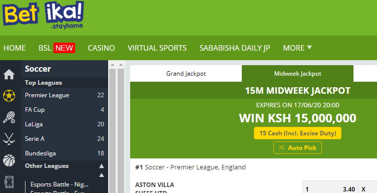 Betika midweek jackpot prediction this week