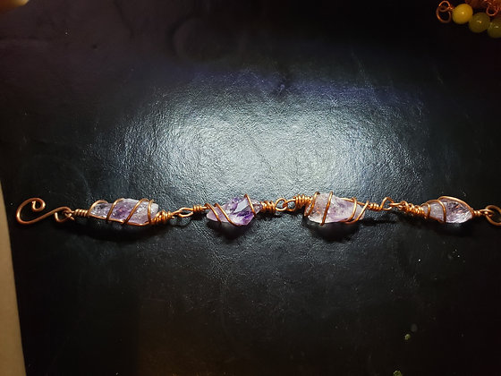 Raw Amethyst Link Bracelet