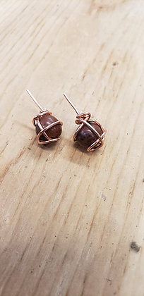 Mahogany Obsidian Stud Earrings