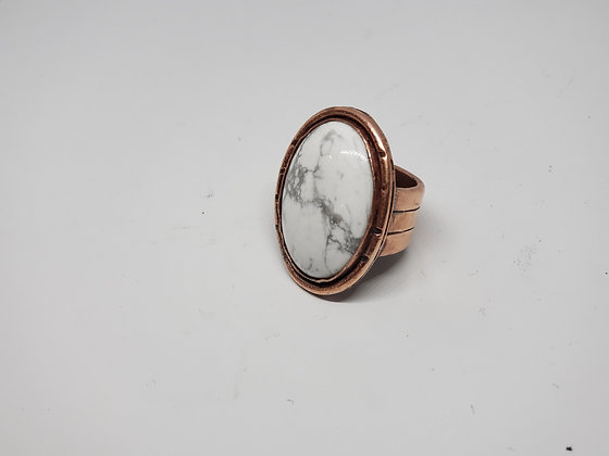 Howlite Ring Set in Copper Size 9