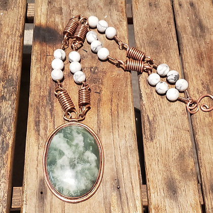 Jade necklace with Howlite and Copper Necklace