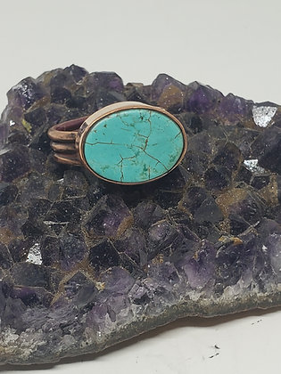 Turquoise Copper Ring Size 9