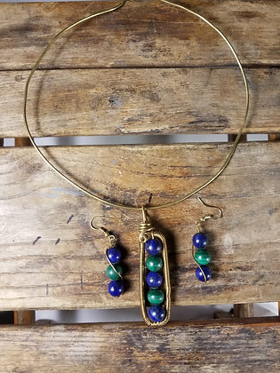 Brass Lapiz and Malachite necklace and earring set