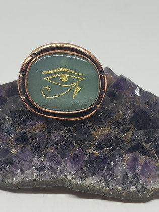 Adventurine Eye of Heru Ring Size 9