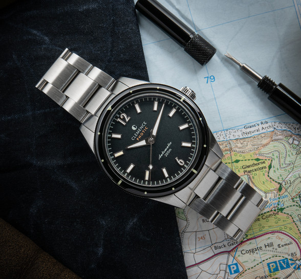Photic Diver with Abyss Black dial and silver hands