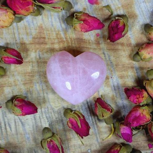 Heart Shaped Polished Rose Quartz Crystal Size:3.5cm wide x 3.5cm h x 10cm w