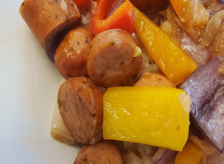 Hawaiian Sausage with Peppers and Rice
