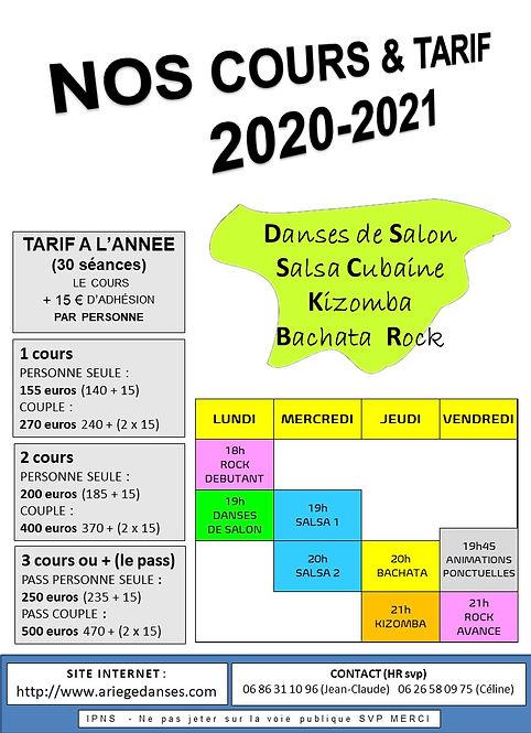 HEBDO DES COURS ET TARIFS 2020-21 au 1er