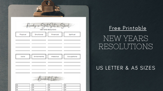 Free New Year S Resolutions Printable Template And Bucket Lists Worksheet