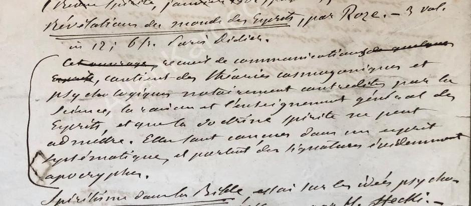 Manuscrito Inédito de Allan Kardec - Catálogo Racional