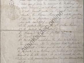Manuscrito da Escritura de posse por Amélie Boudet (Sra Kardec) dos quadros de Monvoisin