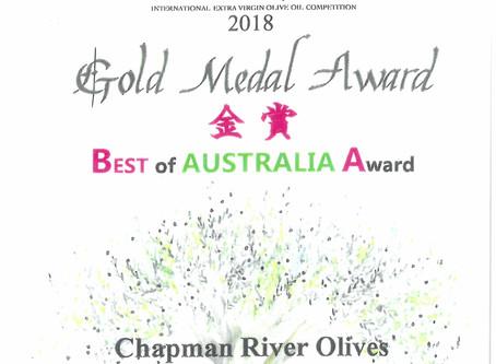 Chapman River Olives Best of Australia 2018 International Olive Awards Japan