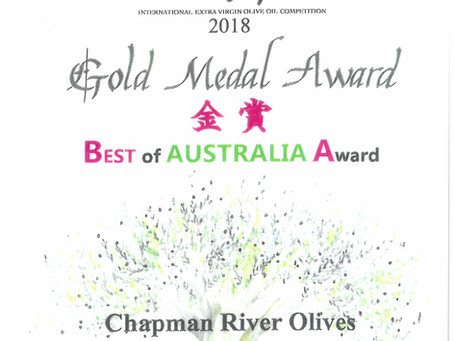 Chapman River Olives Best of Australia 2018 International Olive Awards Japan