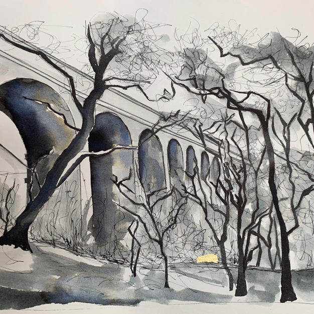 Kirkby Stephen viaduct pen and ink wash with gold leaf