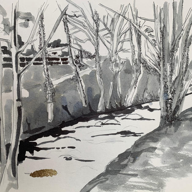 Kirkby Stephen top of Hartley pen and ink wash with gold leaf