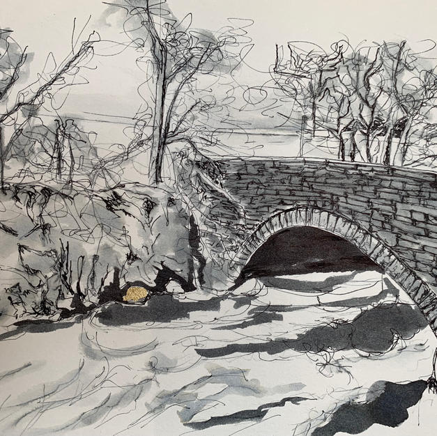 Alston Seven Sisters bridge pen and ink wash with gold leaf