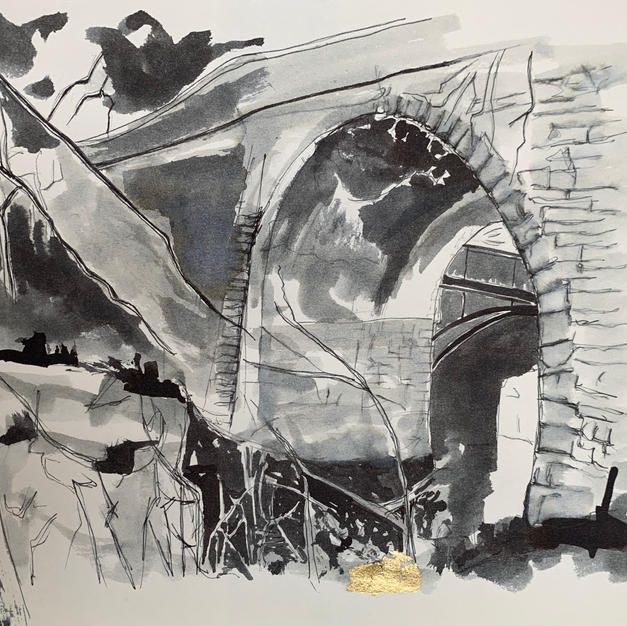 Kirkby Stephen waterfall pen and ink wash with gold leaf