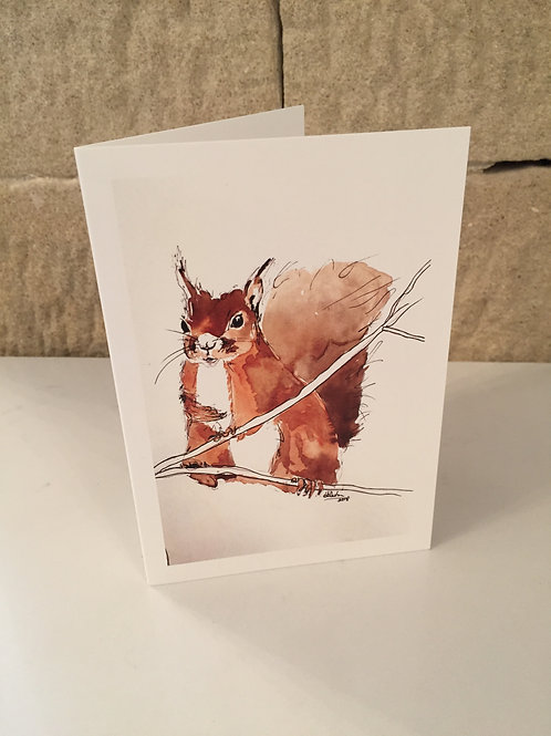 Red squirrel 'Branching Out' greetings card