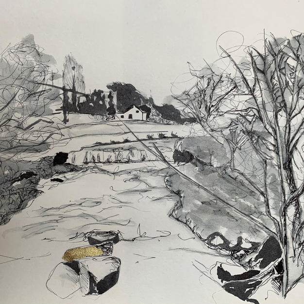 Alston Seven Sisters pen and ink wash with gold leaf