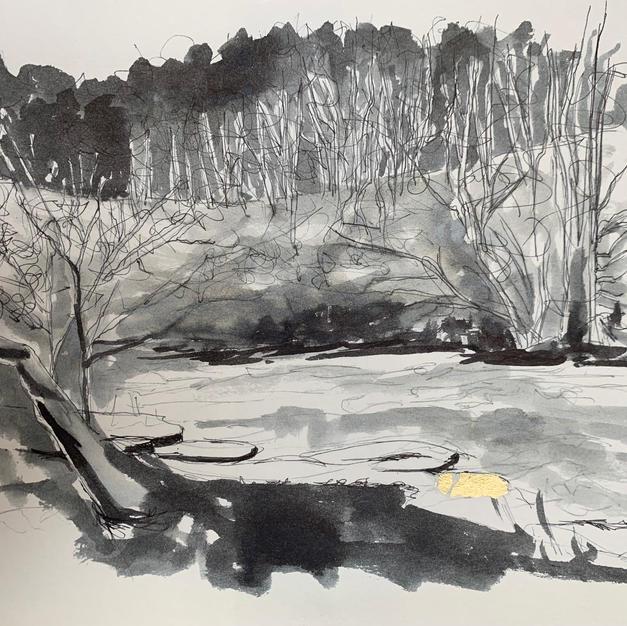Kirkby Stephen River Eden pen and ink wash with gold leaf