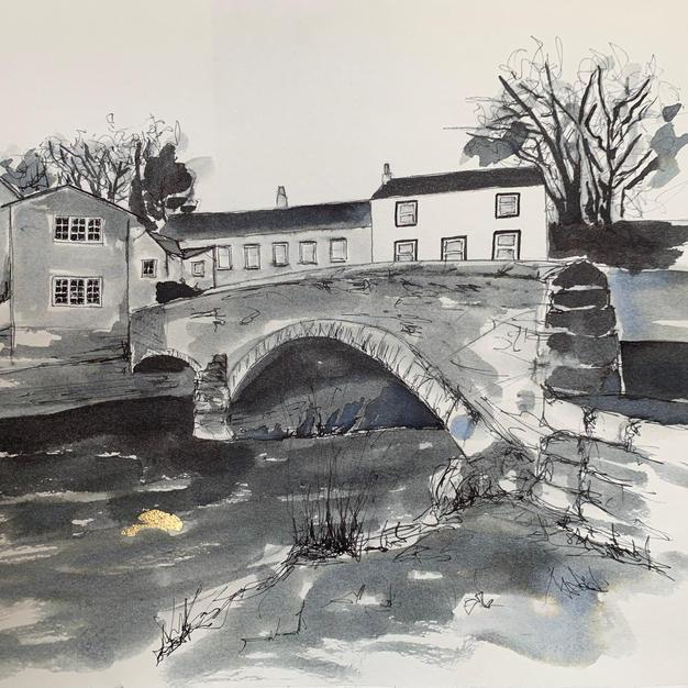 Kirkby Stephen Frank's bridge pen and ink wash with gold leaf