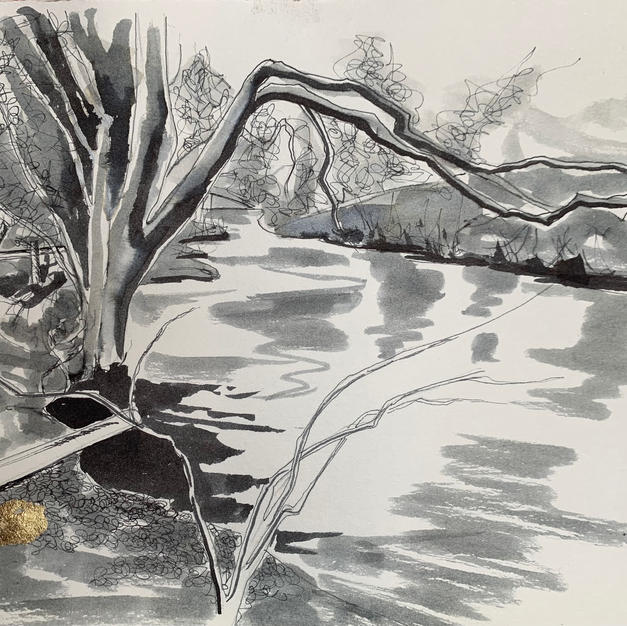 Kirkby Stephen footbridge to Nateby pen and ink wash with gold leaf