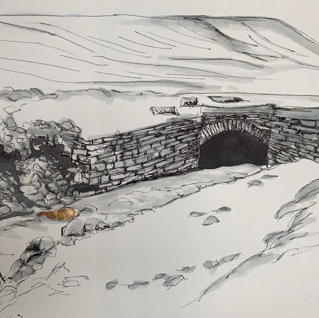 Alston Nenthead path to Flinty Fell pen and ink wash with gold leaf