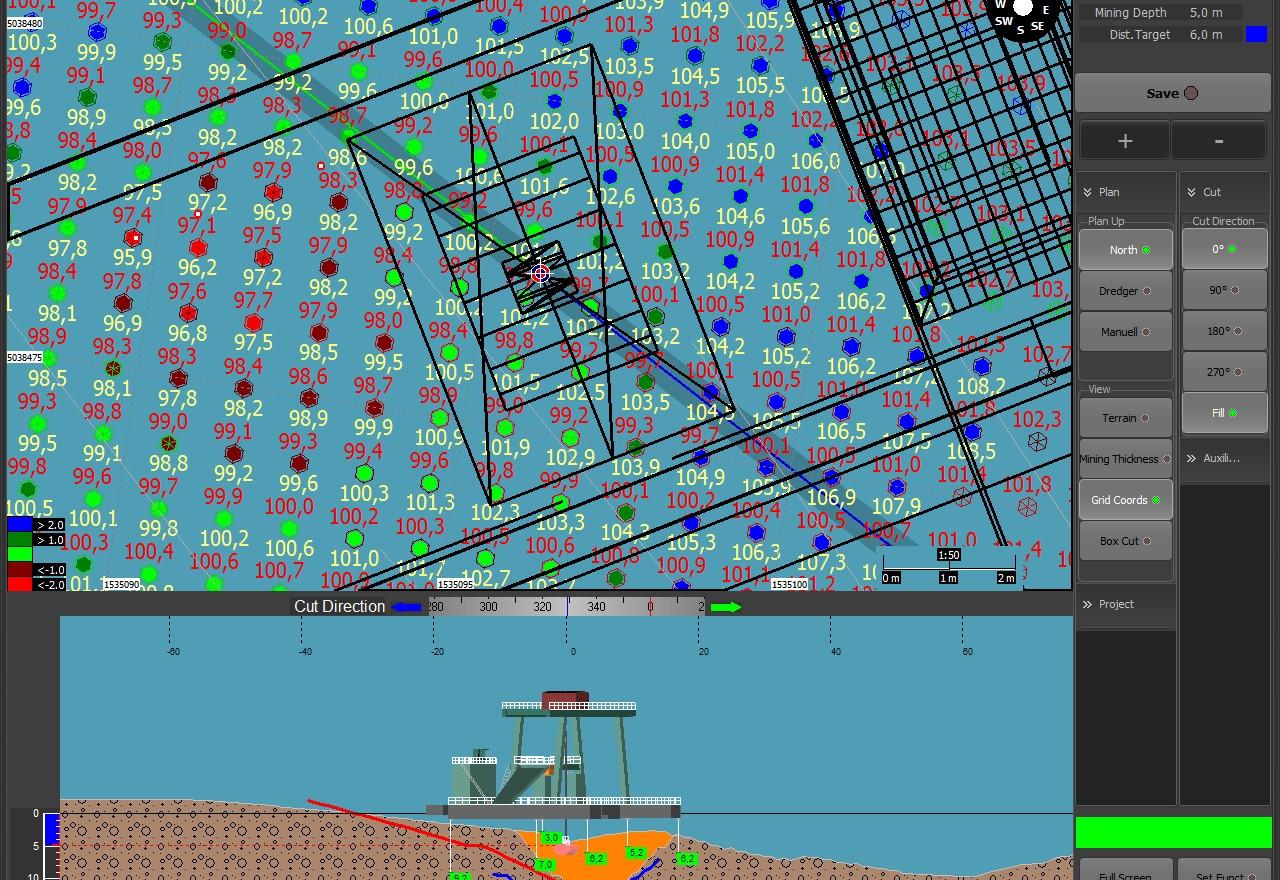Punti di rilievo ecoscandaglio e punti di posizione benna