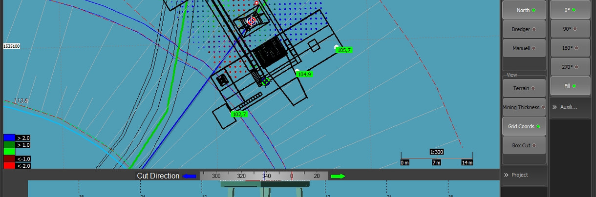 Mappa 2D e sezione con punti ecoscandagli
