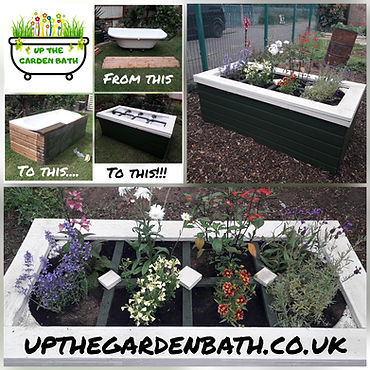 Flower Power Planter made from upcycled bathtub