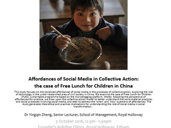 AAME Lunchtime seminar series: Affordances of Social Media in Collective Action: the case of Free Lu