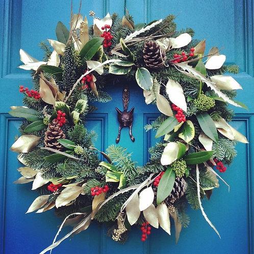 Gold and Red door wreath