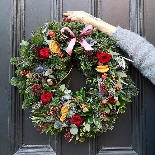 Large luxurious fresh flower wreath