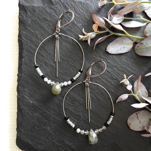 """Boucles d'oreilles acier inox et pierres fines """"Délicatesse"""""""