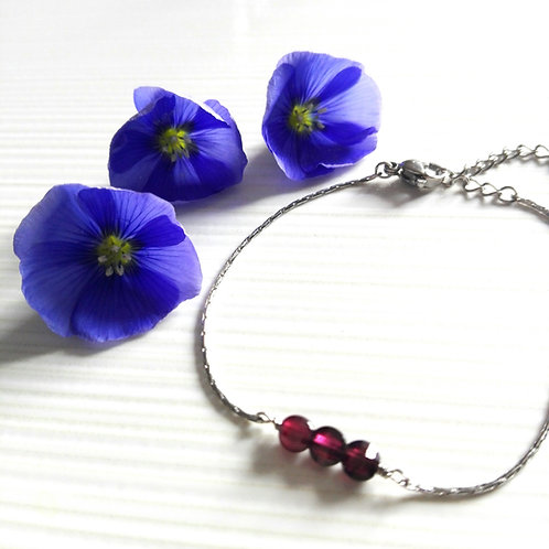 """Bracelet fin inox et pierres fines rouges - """"Etincelles"""""""