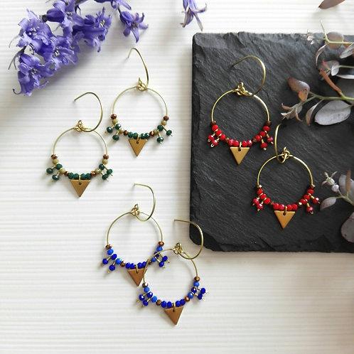 """Boucles d'oreilles en laiton brut et perles de verre - 3 couleurs - """"Pheobus"""""""