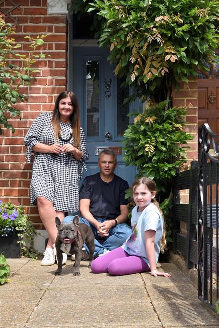 Family, doorstep, lockdown portrait,  group, portrait, family portrait