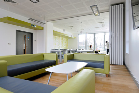 student accommodation, student residence, halls of residence, student campus, university, interiors, public space, interior space, communal space, common room students