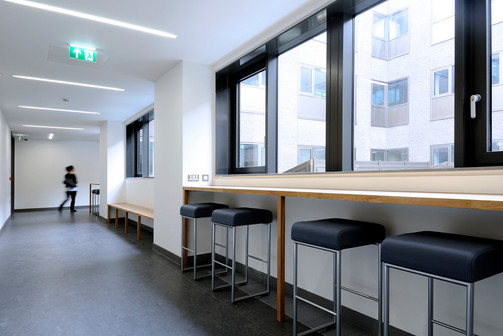 Students, student accommodation, student residence, halls of residence, student campus, university, interiors, public space, interior space, communal space,  study space