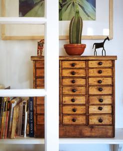 interiors, residential, domestic interiors,  interior detail, room detail, shelves, antique, cabinet, draws