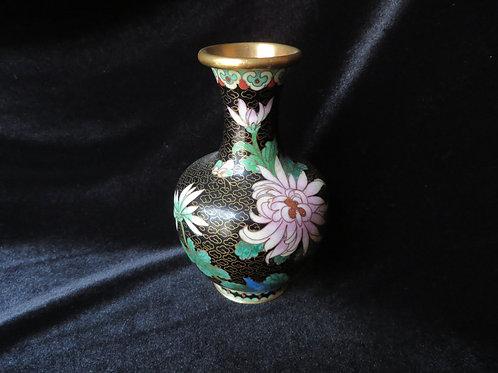 Black Asian-Style Cloisonne Vase