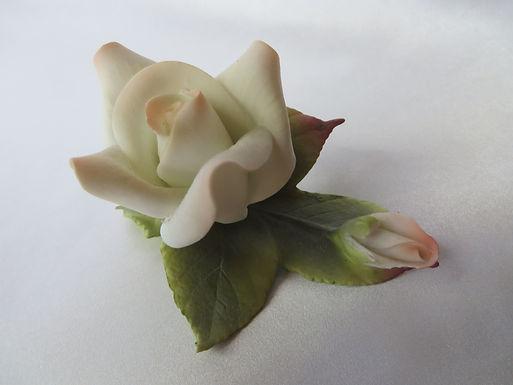 I.W. Rice Porcelain Rose with Bud