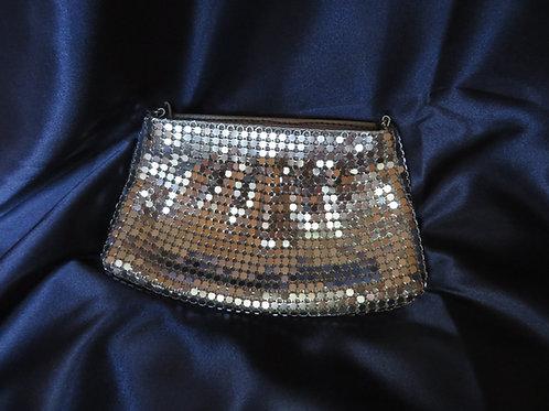 Silver-Tone Metal Mesh Evening Bag